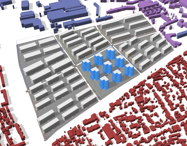 Urban planning tutorial application from CityEngine, showing a 3D view of building models with different zoning rules highlighted in colours.