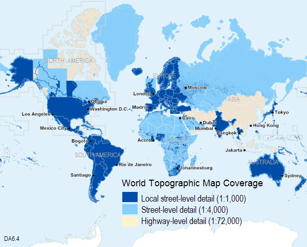 World Topographic Map 6 4 Coverage Map Data Appliance 6 4 For Arcgis