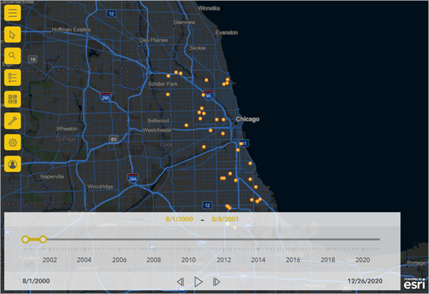 Map time-aware data—ArcGIS Maps for Power BI   ArcGIS